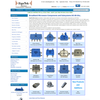 Sigatek Microwave, Power Dividers, Couplers, Bias Tees, Hybrids, Phase Shifters, Adapters, Terminations.