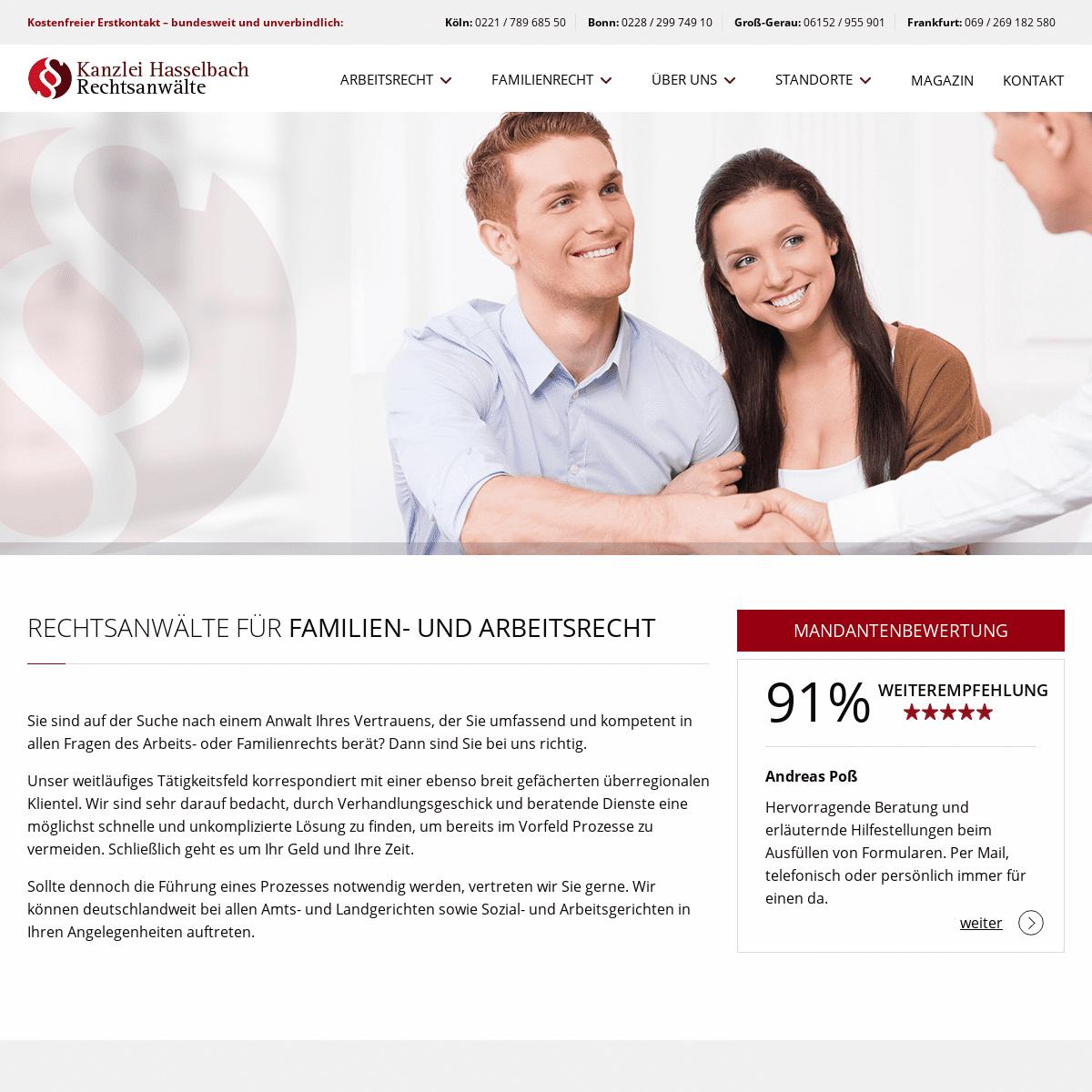 Rechtsanwalt für Familienrecht und Arbeitsrecht - Kanzlei Hasselbach