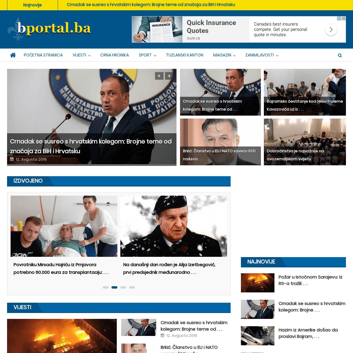 Početna stranica - Bportal.ba - Najvažnije vijesti iz BiH