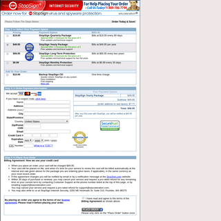 ArchiveBay.com - stopsign.com - StopSign Internet Security - Please enter your payment information.