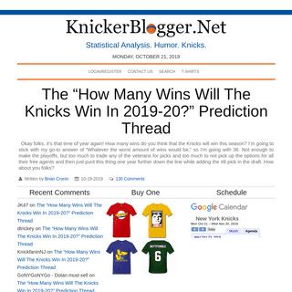 KnickerBlogger.Net - Statistical Analysis. Humor. Knicks.