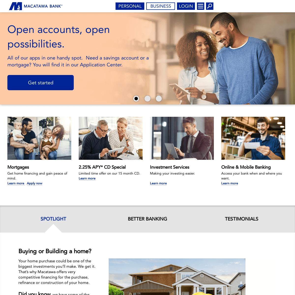 Personal Banking, Mortgages, Auto Loans, Investing - Macatawa Bank