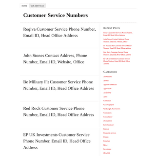 Customer Service Numbers -