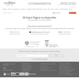 404 error - Joyería Sánchez