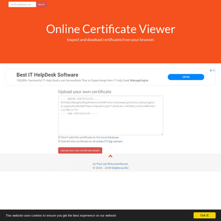 Online Certificate Details - X590, ANS1, OID, Subject, Issuer, Extensions