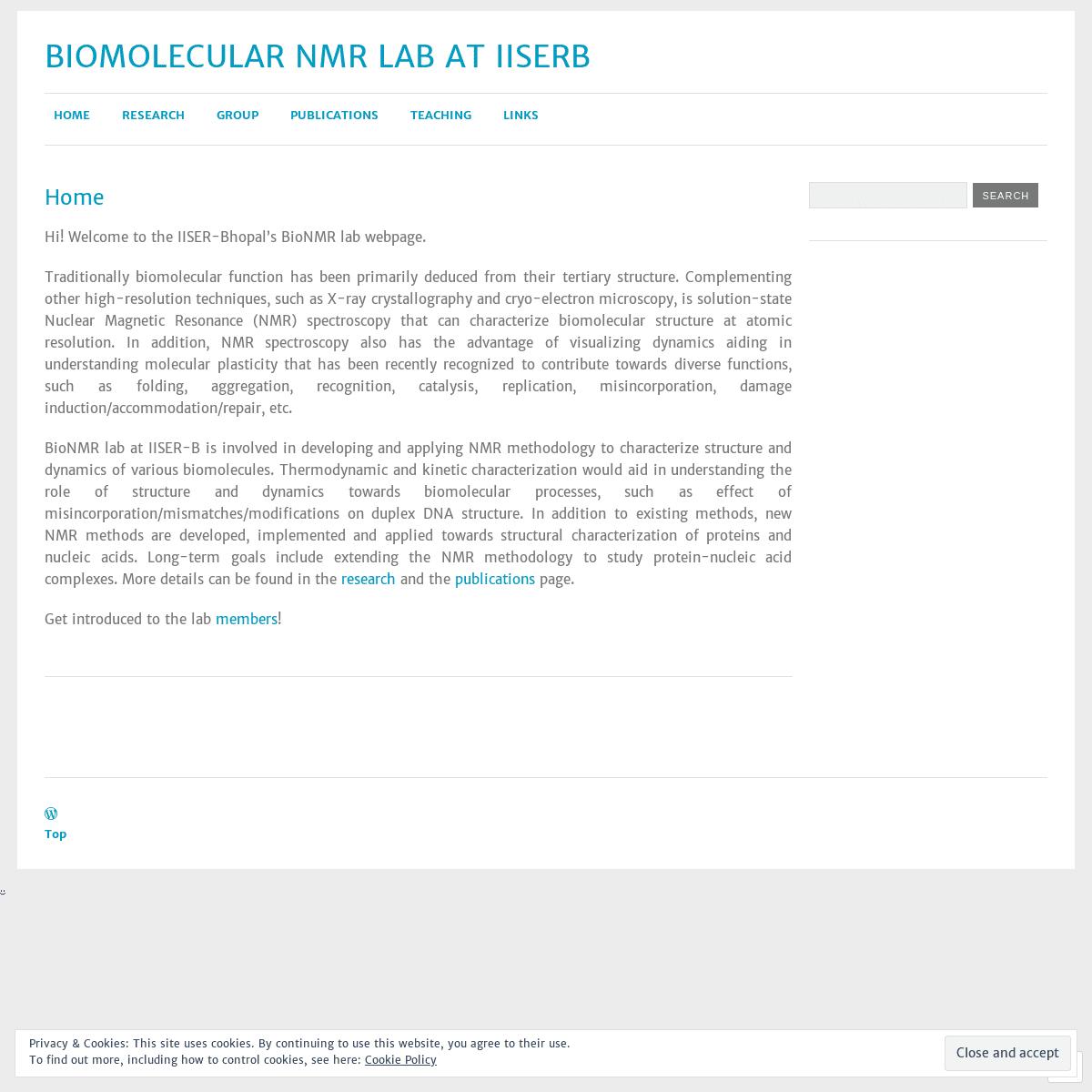 Biomolecular NMR Lab at IISERB