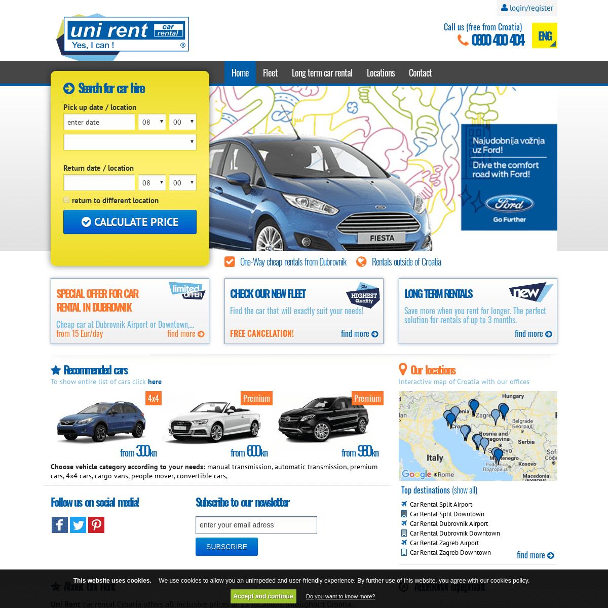 Uni Rent - Car Rental Croatia Car Hire