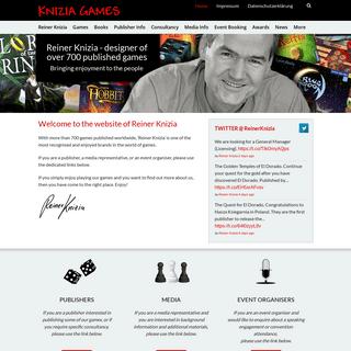 Reiner Knizia » Designer of over 600 published games Bringing enjoyment to the people
