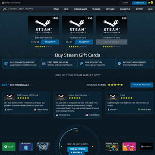 Steam Gift Card Online - Reload Your Steam Wallet with 5-Star Service