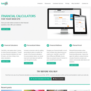 Financial Calculators from CalcXML - Home Page