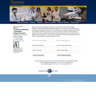Continuing Pharmacy Education - College of Pharmacy University of Rhode Island