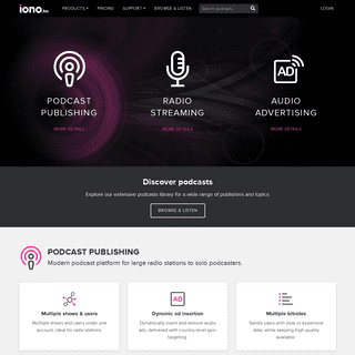 Modern audio platform for radio stations and podcasters - iono.fm