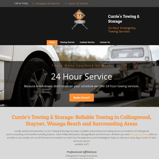 24-Hour Towing Collingwood - Home - Currie's Towing & Storage