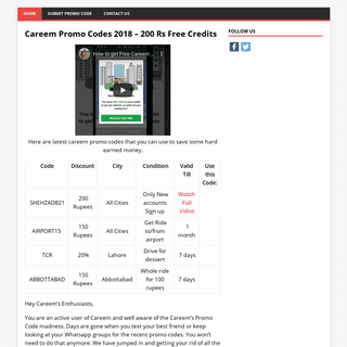 ArchiveBay.com - freerides.pk - Careem Promo Codes 2018 – 200 Rs Free Credits