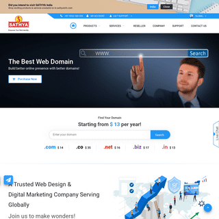Web hosting - Domain registration - SEO services-SATHYA Technosoft