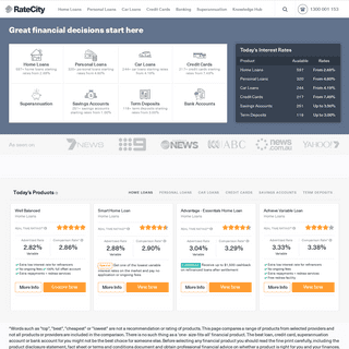 Find Home Loans, Car & Personal Loans, Credit Cards - RateCity