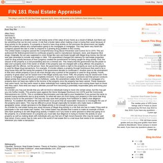 FIN 181 Real Estate Appraisal