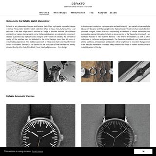Defakto Watch Manufactory Minimal Design Bauhaus Watches - Defakto Uhren