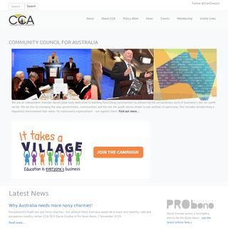 COMMUNITY COUNCIL FOR AUSTRALIA - Community Council for Australia