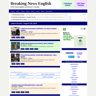 Breaking News English Lessons- Easy English News Materials - Current Events - ESL Materials