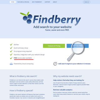 Findberry Site Search Engine - free internal search engine for your website
