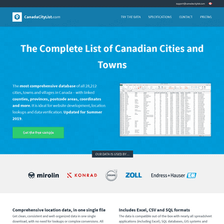 List of all Canadian cities (Excel, SQL & CSV download)