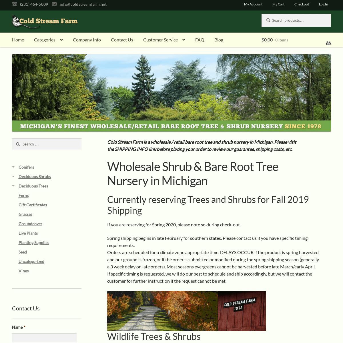 ArchiveBay.com - coldstreamfarm.net - Wholesale Shrub & Bare Root Tree Nursery in Michigan - Cold Stream Farm