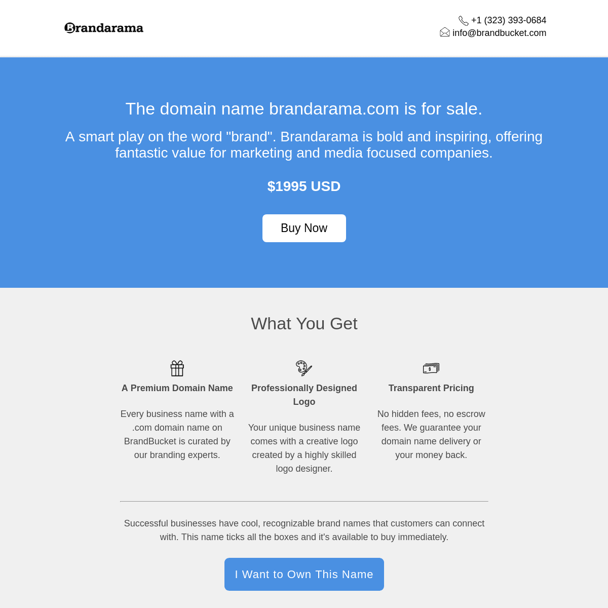 The domain name brandarama.com is for sale