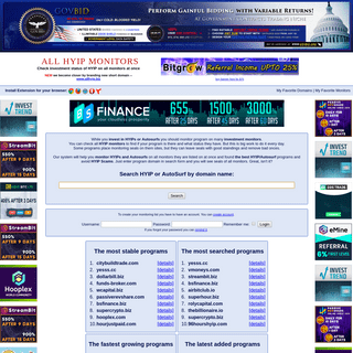 All HYIP Monitors .com - Check your investment status on all HYIP monitors at once.