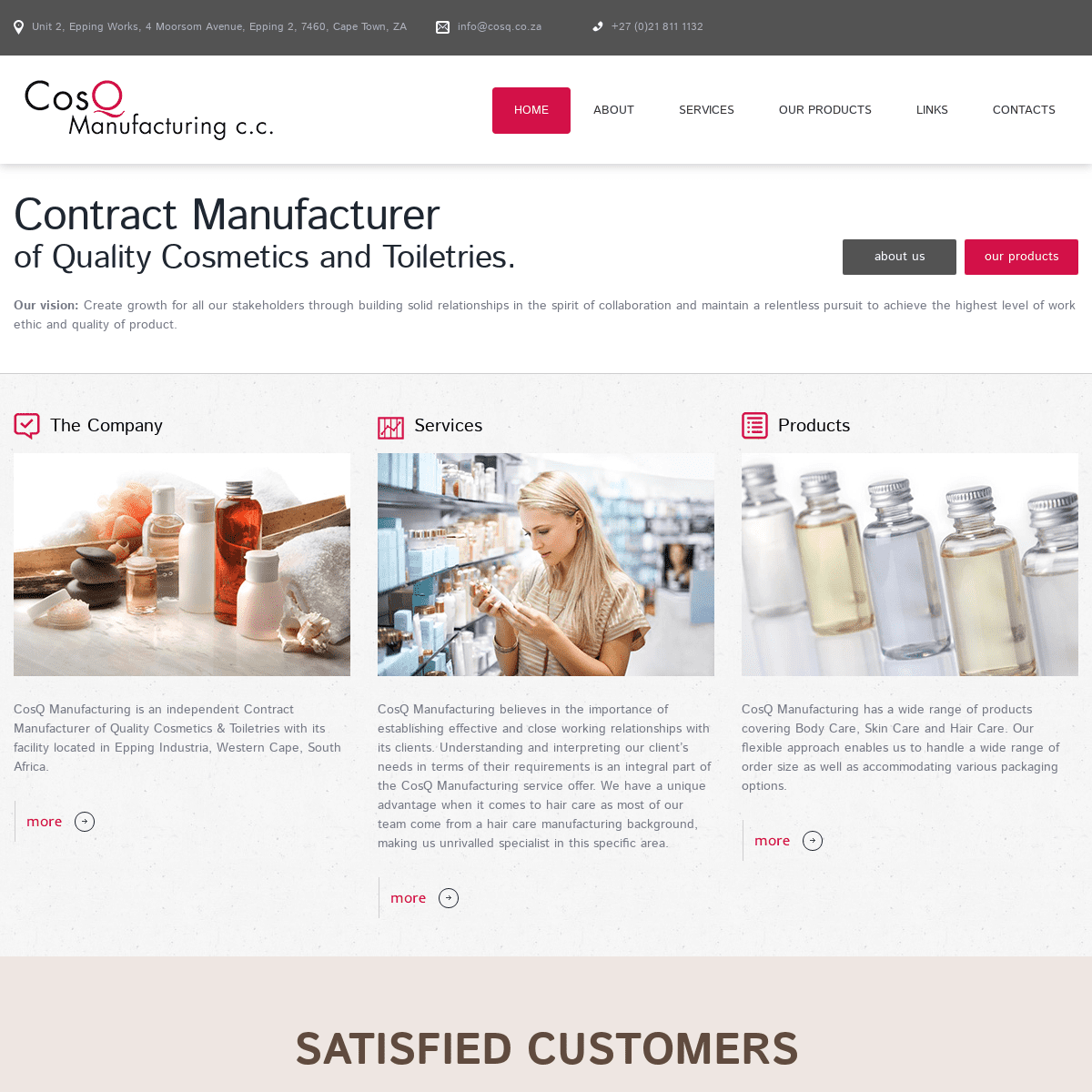 CosQ Manufacturing c.c. - Contract Manufacturer of Quality Cosmetics and Toiletries