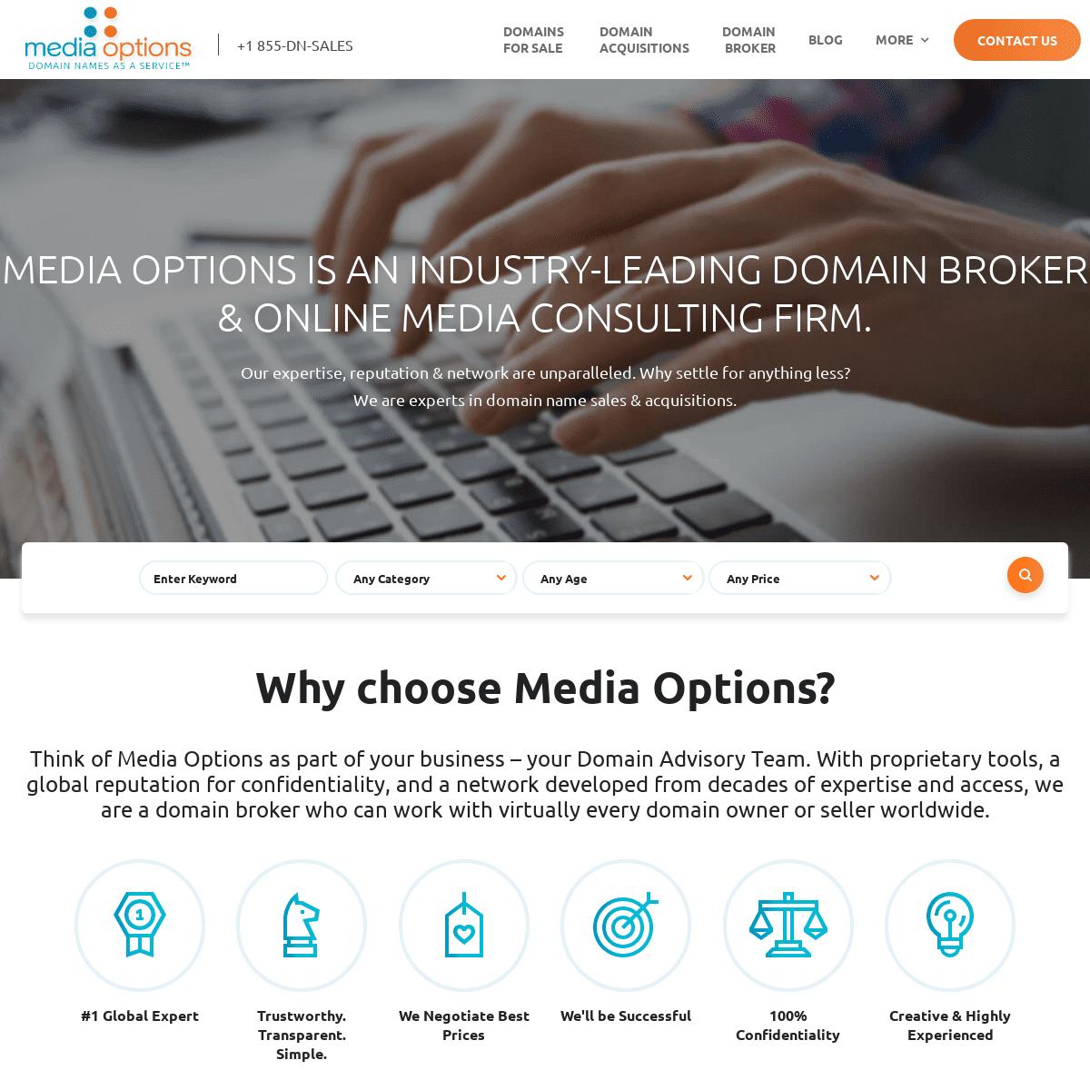 Media Options - The Industry-Leading Domain Broker