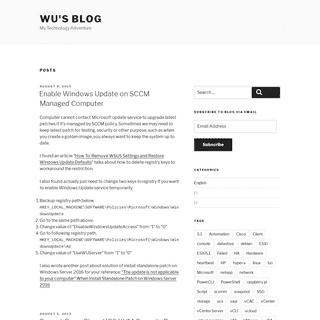 Wu's Blog - My Technology Adventure
