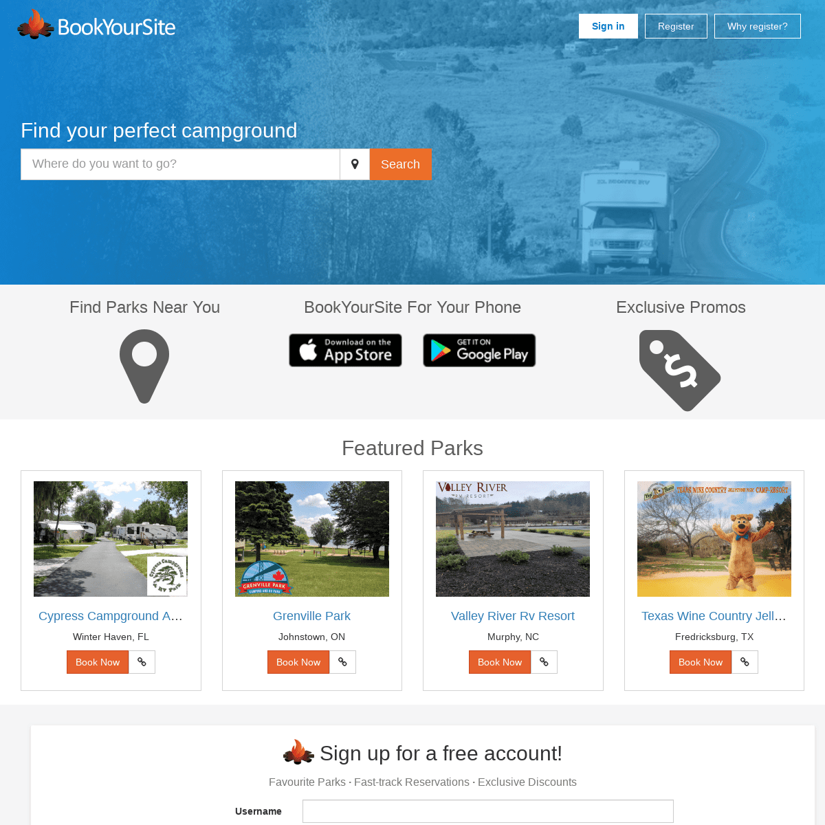 Online Campground and RV Park Reservations - BookYourSite