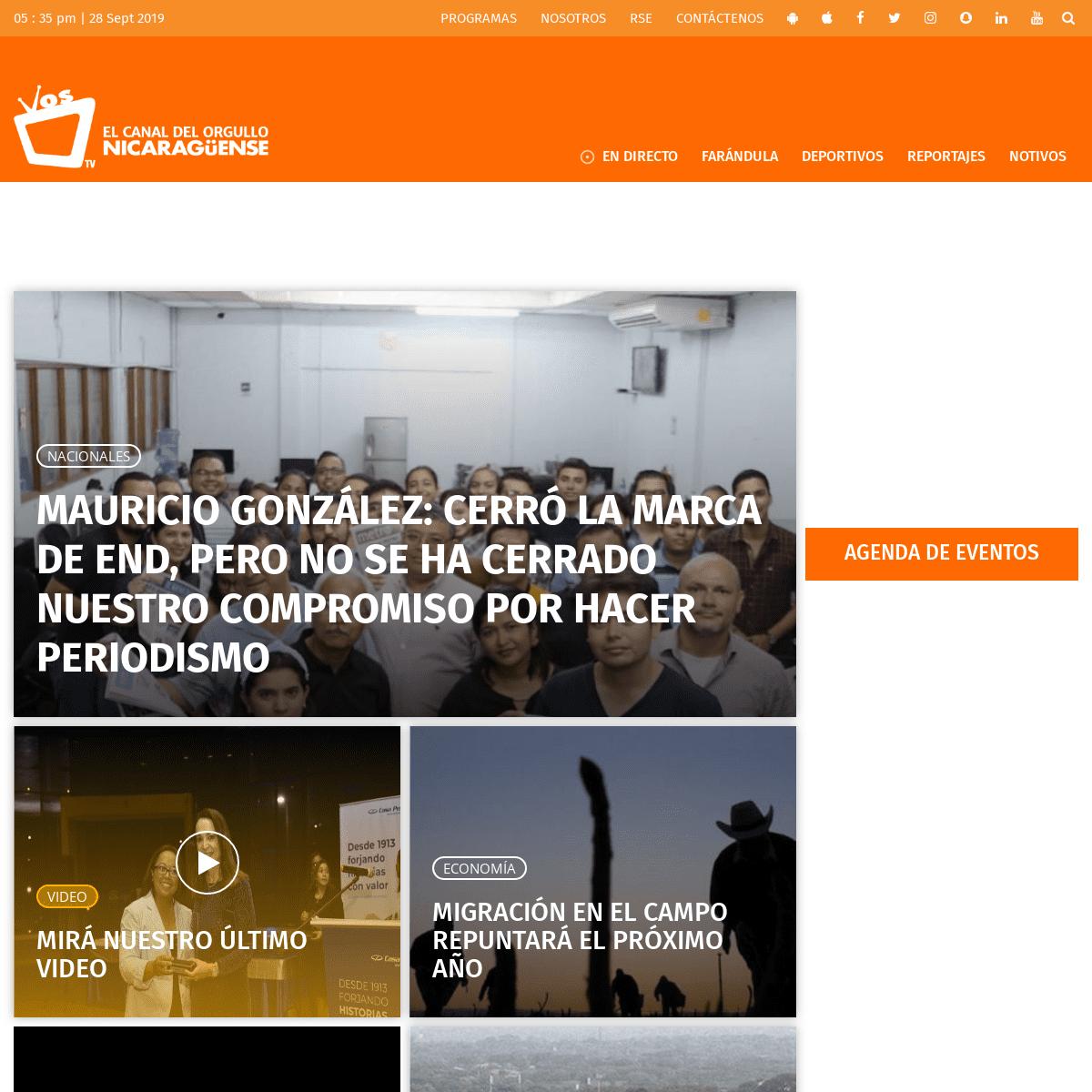 Vos TV • Noticias y Entretenimiento de Nicaragua