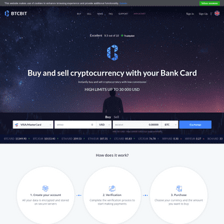 BTCBIT.NET - cryptocurrency exchanger at competitive prices - Trade platform