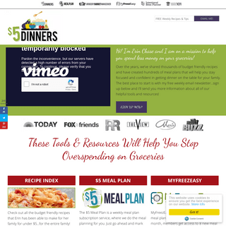 ArchiveBay.com - 5dollardinners.com - $5 Dinners - Recipes, Meal Plans, Coupons – Feeding the Family for $5 or Less