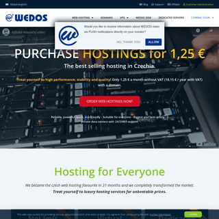 The Favourite, Most Sold and Biggest Czech Hosting- WEDOS.com