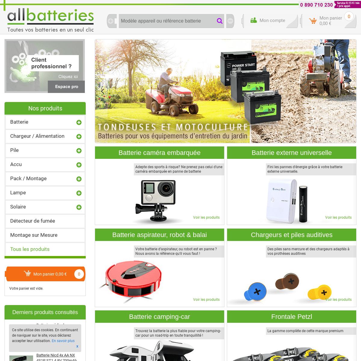 All Batteries - Batteries, piles, accus & chargeurs à petit prix