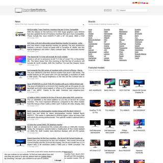 DisplaySpecifications - Specifications and features of desktop monitors and TVs