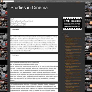 Studies in Cinema