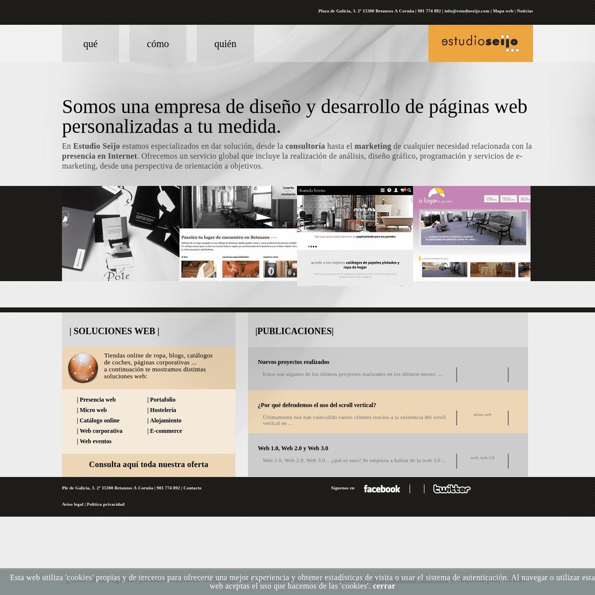Diseño de páginas web Coruña, consultoría internet - Estudio Seijo