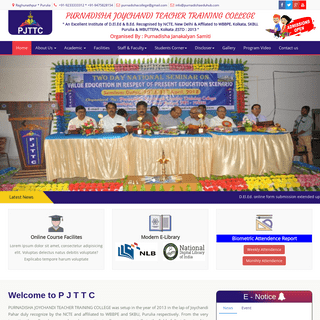 PURNADISHA JOYCHANDI TEACHER TRAINING COLLEGE An Excellent Institute of D.El.Ed & B.Ed. Recognised by NCTE, New Delhi & Affilate