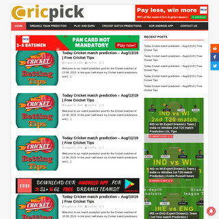 Dream11 Team, Today Match Prediction, Fantasy Cricket, Football, Kabaddi - CricPick - Fantasy Experts