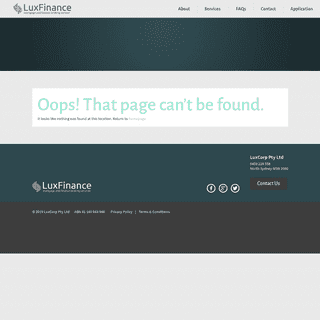 Page not found - Lux Finance