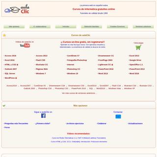 aulaClic. Cursos de Informática gratis y de calidad, con videotutoriales. Cursos on-line de Excel, Access, Word, Windows, Inter