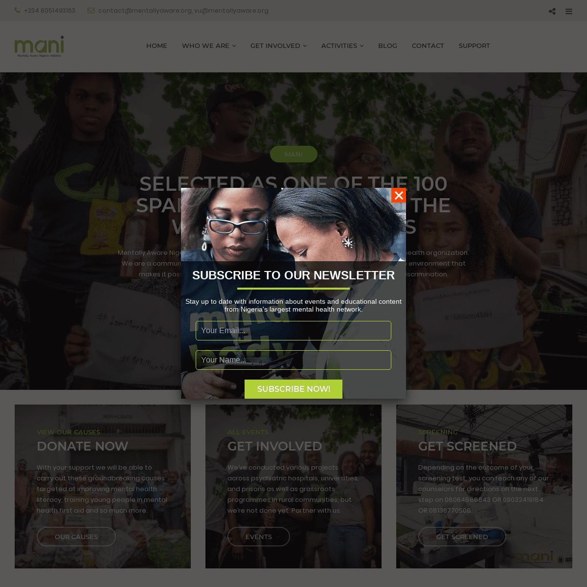 MANI - Nigeria's Largest Mental Health Organization Based in Lagos.