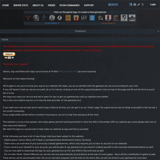 ArchiveBay.com - freegamehosting.eu - FreeGameHosting - Because gaming is free - Free Game Hosting - Free Game Servers for CS CSS CSGO TF2 COD4 COD2 ETW URT GARRYSMOD