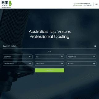 Top Voice Over Agency - EM Voices Australia