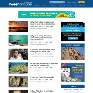 SmithsonianTweenTribune - Articles for kids, middle school, teens from Smithsonian - tweentribune.com - Current events, lesson p