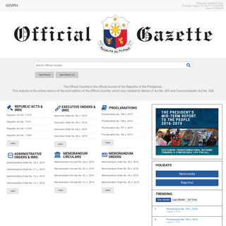 Official Gazette of the Republic of the Philippines - The Official Gazette is the official journal of the Republic of the Philip